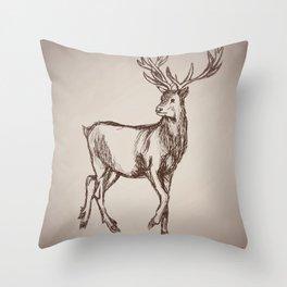 Deer Drawing Throw Pillow