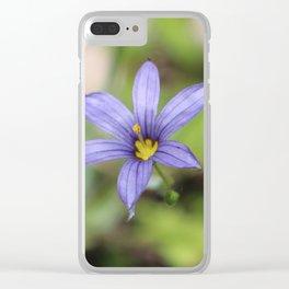 Blue Eyed Grass Flower Clear iPhone Case