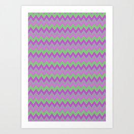 pink purple and green chevron Art Print