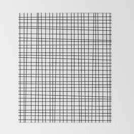 Hand drawn Grid Pattern-Black on White-Mix & Match with Simplicity  of life Throw Blanket