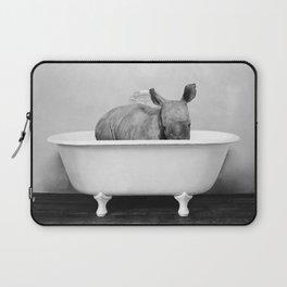 Baby Rhino in a Vintage Bathtub (bw) Laptop Sleeve