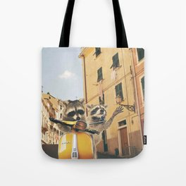 Raccoons on the road trip Tote Bag