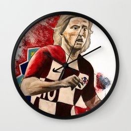 Luka Modric,croatia,soccer,futbol,fan art,wall art,artwork,shirt,painting,world cup 2018,colourful Wall Clock