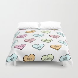 Sassy Valentines Candy Heart Pattern Duvet Cover