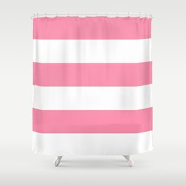 Wide Horizontal Stripes - White and Flamingo Pink Shower Curtain