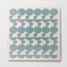 Mid Century Inspired Geometric Shapes in Soft Grey Blue Metal Print