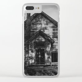 School's Out - Abandoned Schoolhouse in Iowa in Black and White Clear iPhone Case