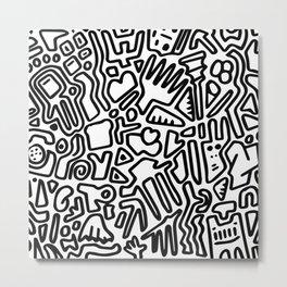 black & white doodle Metal Print