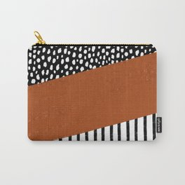 Polka Dots and Stripes Pattern (black/white/burnt orange) Carry-All Pouch
