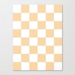 Large Checkered - White and Sunset Orange Canvas Print