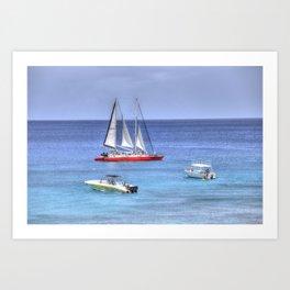 Barbados Blue Sea Boats Art Print