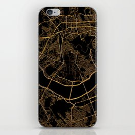 Black and gold Seoul map iPhone Skin