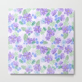 Louisa Lilac Watercolor Flowers Metal Print