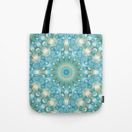 Turquoise and Gold Mandala Tile Tote Bag