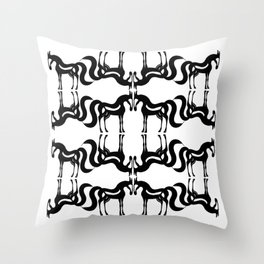 The Essence of a Horse Ornamental Pattern (Black and White) Throw Pillow