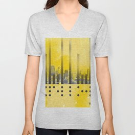 Yellow Abstract Passion Unisex V-Neck