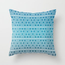 Triangles in Triangles White on Blue Throw Pillow