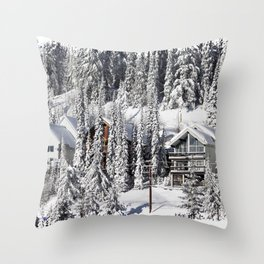 Winter Retreat - Mountain Resort Throw Pillow