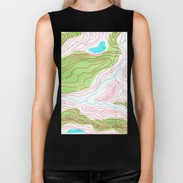 Let's go hiking - topographical map Biker Tank