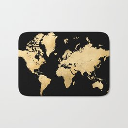 Sleek black and gold world map Bath Mat