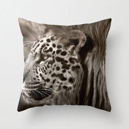 Lion Leopard Jaguar Cat Head Face Animal Fantasy Throw Pillow