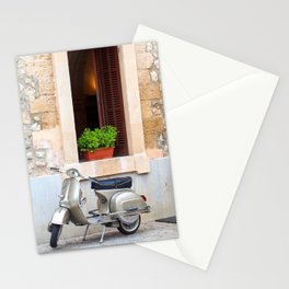 Italian Motorcycle and Mediterranean house Stationery Cards
