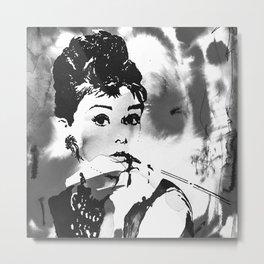 Audrey in B&W Metal Print