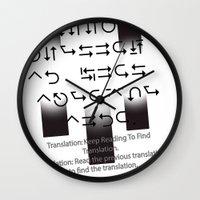 lost in translation Wall Clocks featuring Lost in Translation :Black & White by Sierra Neale