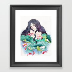 Play with waterlily  Framed Art Print