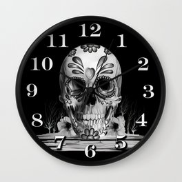 Pulled sugar, day of the dead skull Wall Clock