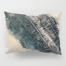 Honey 2: a pretty, minimal abstract mixed-media piece in blue, gold, and pink Pillow Sham