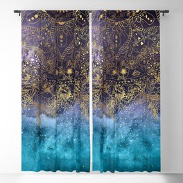 Gold floral mandala and confetti image Blackout Curtain