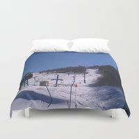 skiing Duvet Covers featuring skiing place by westchestrian_art
