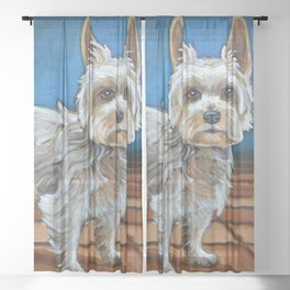 Cute Yorkshire Terrier Sheer Curtain