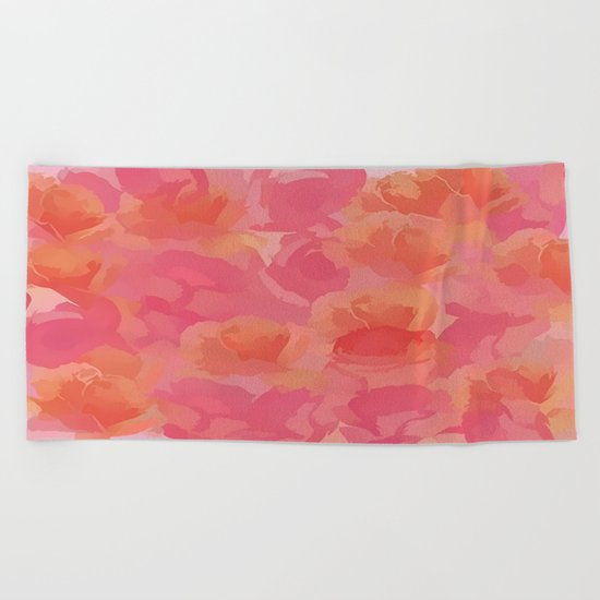Soft Rose Bouquet Abstract Beach Towel