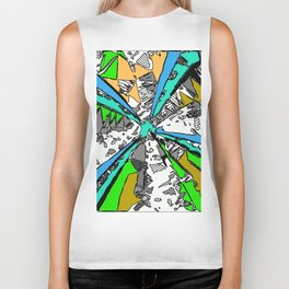 geometric splash drawing and painting abstract background in blue green brown Biker Tank