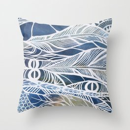 Feathery Design in Blues Throw Pillow
