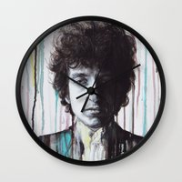 dylan Wall Clocks featuring Bob Dylan by Denise Esposito