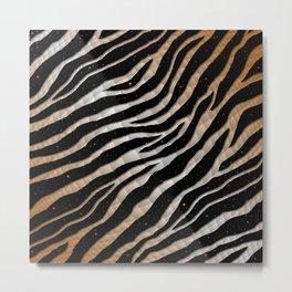 Ripped SpaceTime Stripes - Bronze/White Metal Print