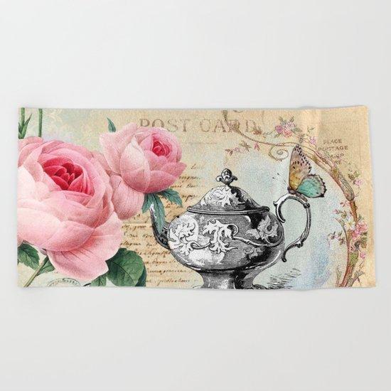 Vintage Flowers #17 Beach Towel
