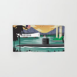 Pearl Harbor, HI - Retro Submarine Travel Poster Hand & Bath Towel