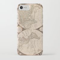 map of the world iPhone & iPod Cases featuring World Map by Le petit Archiviste