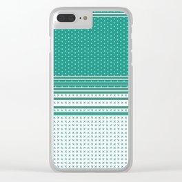 Teal Poka Dot Multi Pattern Design Clear iPhone Case