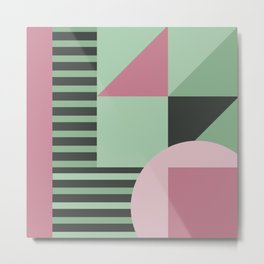 Art Deco Composition Pink and Green #4 Metal Print