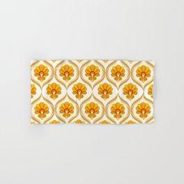 Ivory, Orange, Yellow and Brown Floral Retro Vintage Pattern Hand & Bath Towel