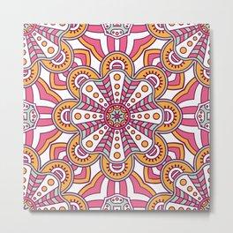 Pink Yellow Pattern Metal Print