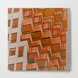 Architectural Abstract in Red Metal Print