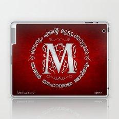 Joshua 24:15 - (Silver on Red) Monogram M Laptop & iPad Skin