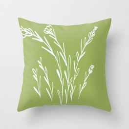 Floral line art on green Throw Pillow