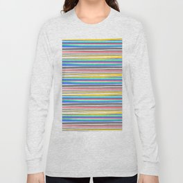 Thin Color Stripes - White Long Sleeve T-shirt